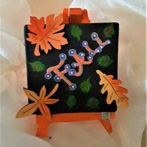 "BeaslePunk Art Original Accents - Fall Frolic - 3D 3""x3"" Fall mini canvas with easel"